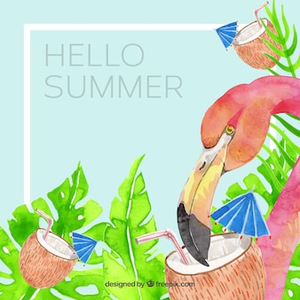 Summer background with plants and flamingo in watercolor style