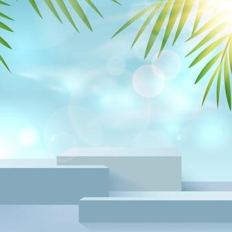 表彰台と雲の空と最小限の青い夏のシーンと夏の背景