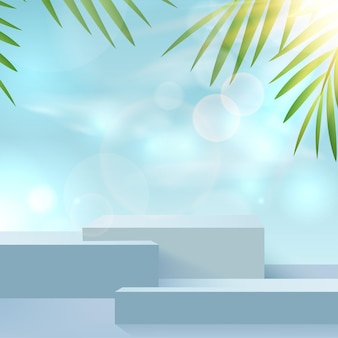 Summer background with podium and minimal blue summer scene with cloud sky