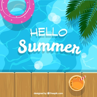 Summer background with pool and float