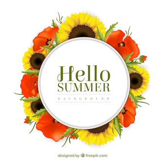 예쁜 꽃과 여름 배경