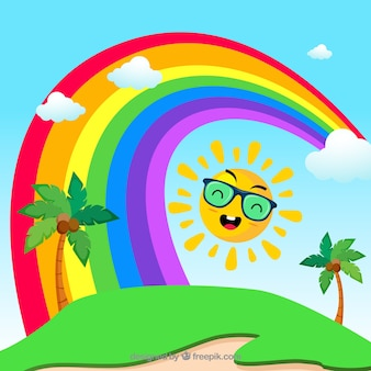 Summer background with rainbow