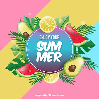 Summer background with realistic fruits
