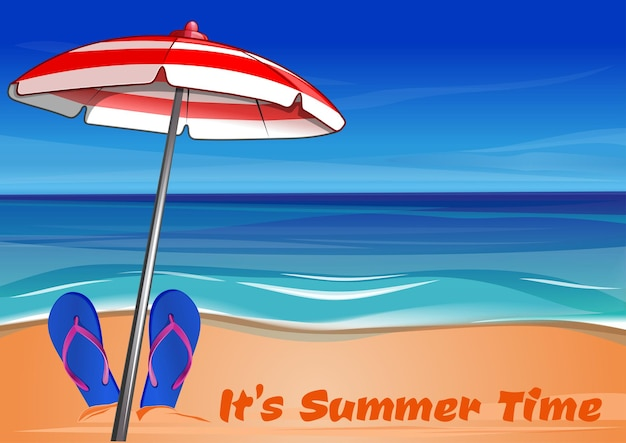 Summer background with the sea, sandy shore, beach umbrella and the inscription - its summer time.  illustration
