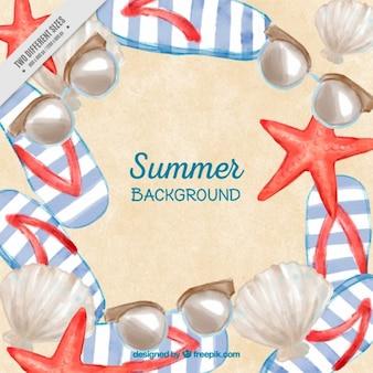 Summer background with seastars