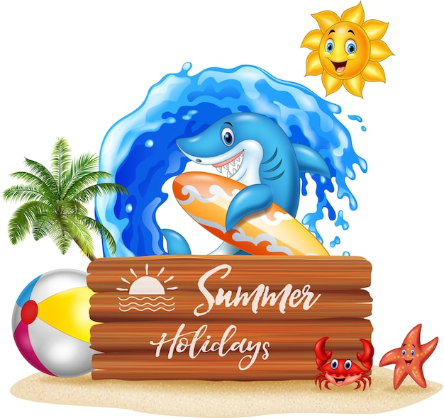 Summer background with shark and wooden sign