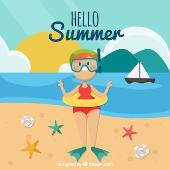 Summer background with smiling person