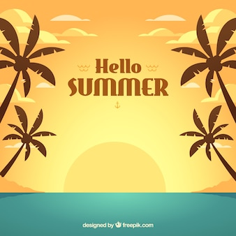 Summer background with sunset in flat style