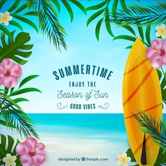 Summer background with surf board and flowers