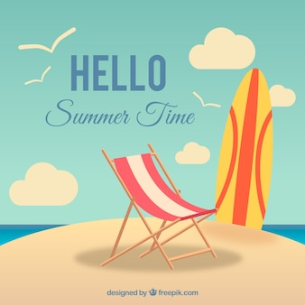 Summer background with surfboard and deck chair