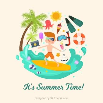 서퍼와 장식 항목 여름 배경