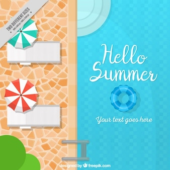 Summer background with swimming pool and deck chairs