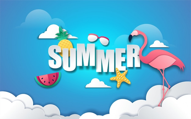 Summer background with text and decoration in paper style