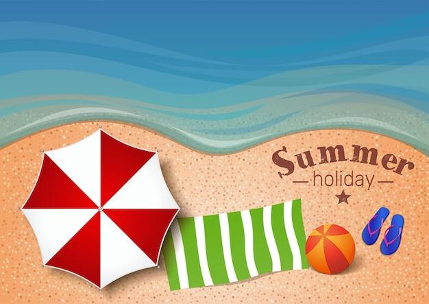 Летний фон с морем, песчаным пляжем, пляжным зонтиком, полотенцем, мячом, шлепками и надписью - летний отдых. иллюстрация