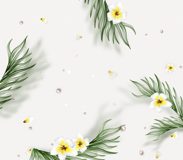 Summer background with tropical leaves, frangipani flowers, petals.