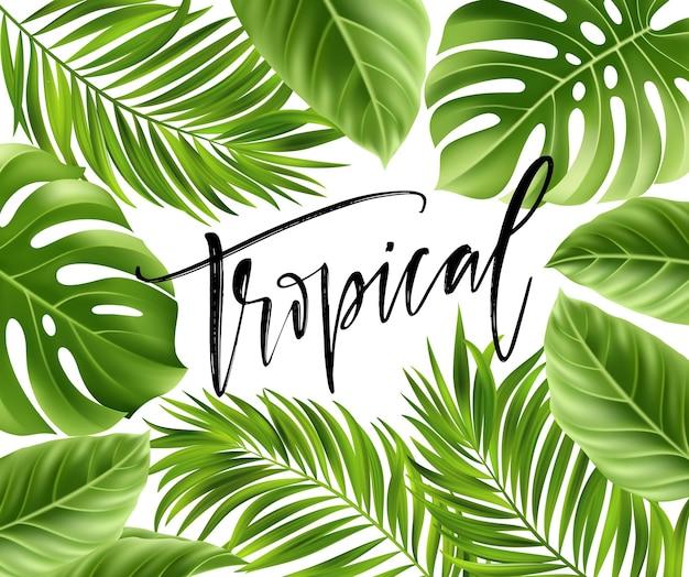 Sfondo estivo con foglia di palma tropicale e scritte a mano.