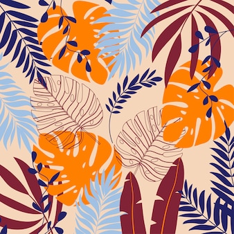 Summer background with tropical plants and leaves