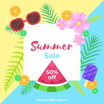 Summer background with tropical style