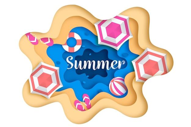 パラソルとサンダルの夏の背景