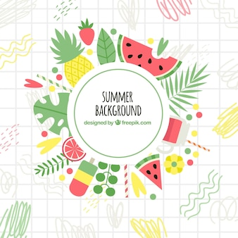 Summer background with variety of fruit