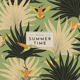 Summer background with vegetation in vintage style