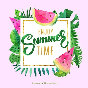 Summer background with watercolor leaves and fruit