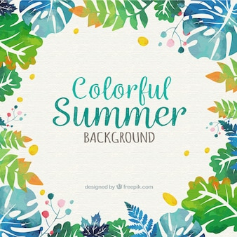 Summer background with watercolor palm leaves