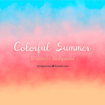 Summer background with watercolor style