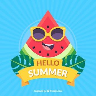 Summer background with watermelon cartoon