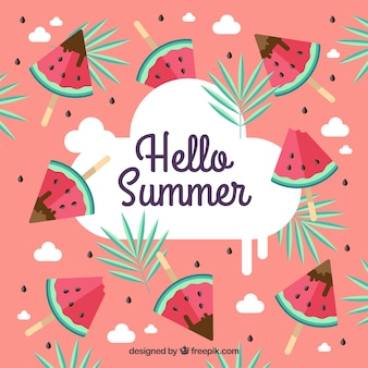 Summer background with watermelon ice creams