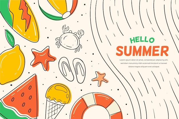 Summer background with watermelon and lemon Free Vector