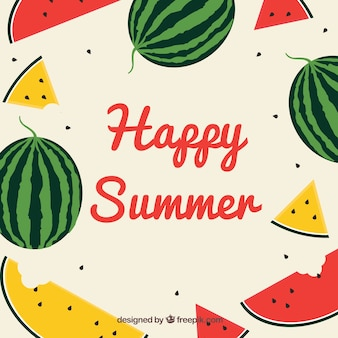 Summer background with watermelons in flat style