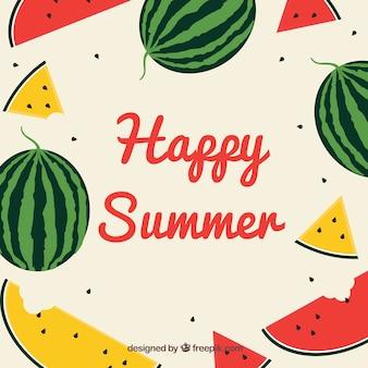フラットスタイルのスイカと夏の背景