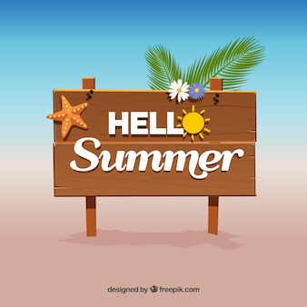 Summer background with wooden sign