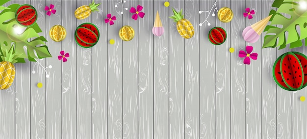Summer background  wooden texture and fruits