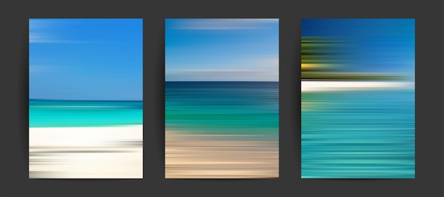 Summer backgrounds set creative gradients in summer colors ocean horizon beach and sunsets