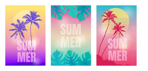 Summer backgrounds with palm trees and tropical plants.  illustration