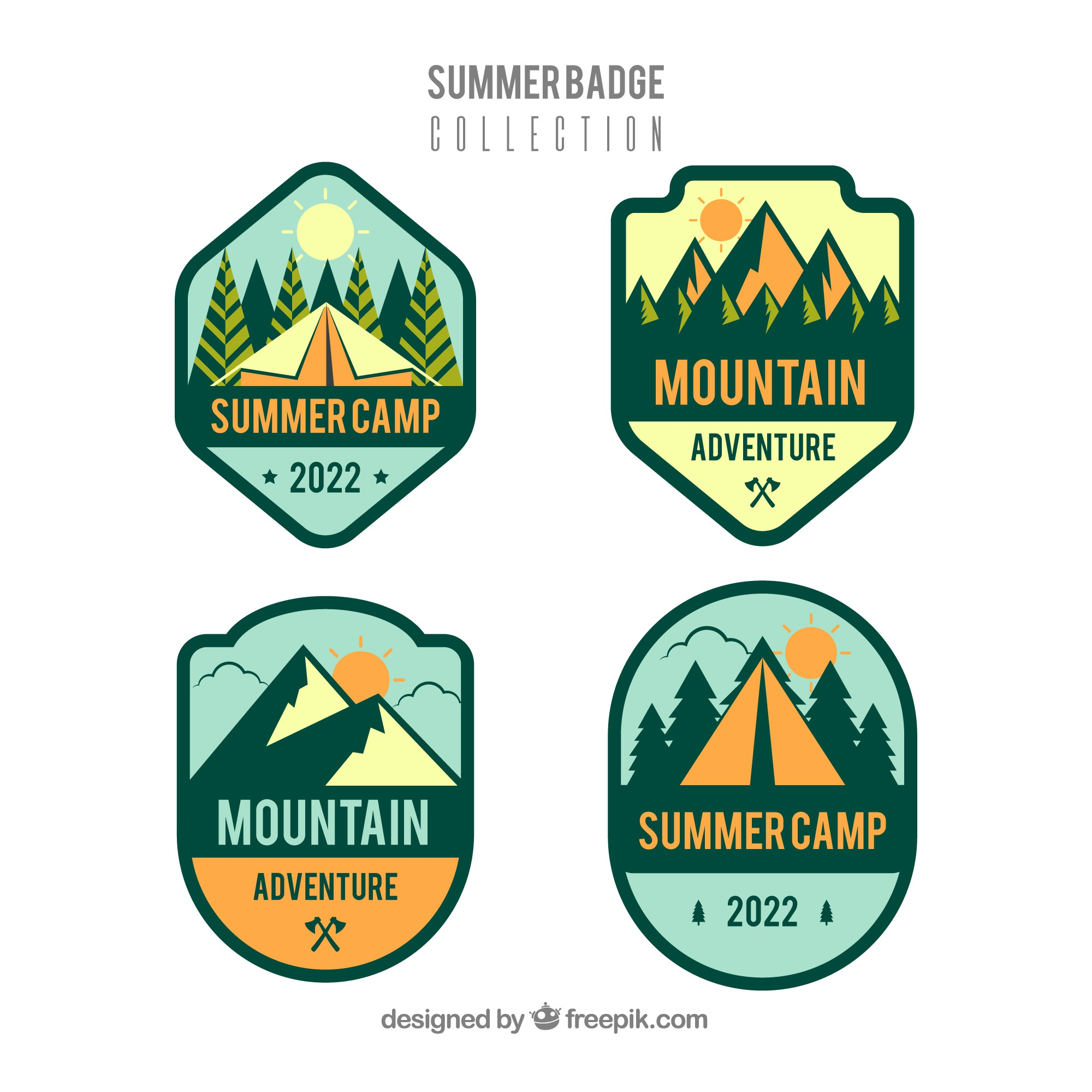 Summer badges collection in flat style
