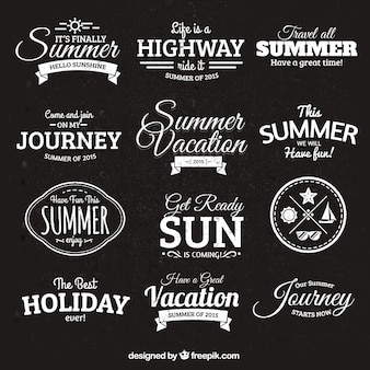 Summer badges in retro style