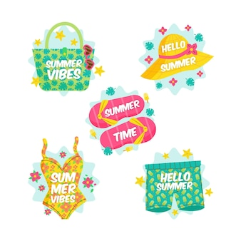 Summer badges with beach essentials