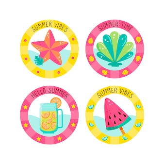 Summer badges with ice cream and drink