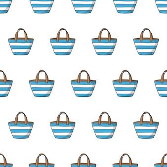 흰색 배경에 여름 가방 원활한 패턴입니다. 가방 테마 벡터 일러스트 레이 션