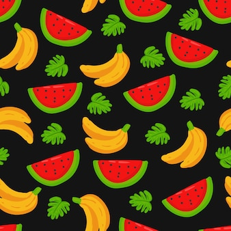 Summer banana watermelon doodle seamless pattern background