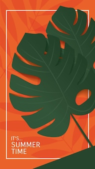 Summer banner design monstera leaves on yellow orange and green wall background