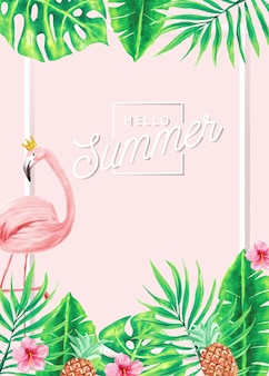 Summer banner of flamingos and tropical leaves.