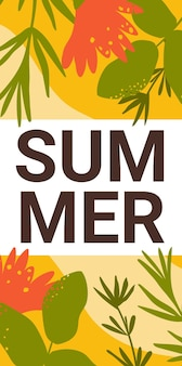 Summer banner flowers and green grass meadow leaves bright nature design floral flyer