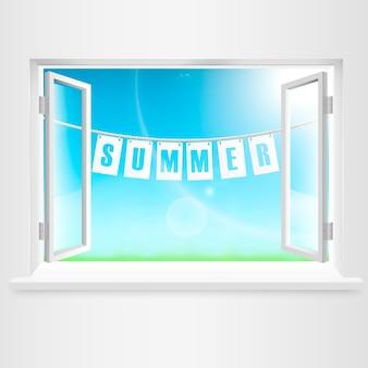 窓からぶら下がっている夏のバナー