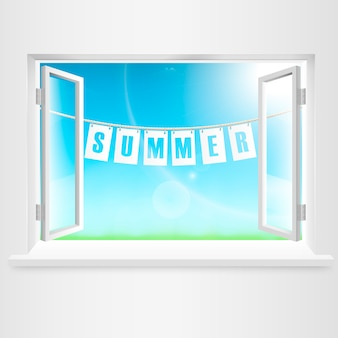 Summer banner hanging out of window