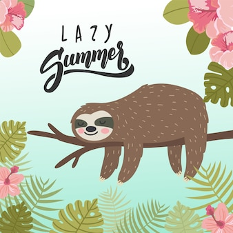 Summer banner illustration with lazy sloth sleeping on the tree