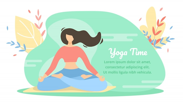 Summer banner is written yoga time cartoon flat